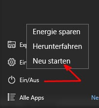 Startmenü Windows 10